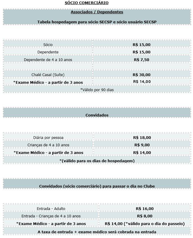 9d029b12ae0d68 Clube de Campo - SECSP - Sindicato dos Comerciários de São Paulo